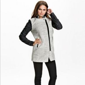 Only - gray wool and leather jacket